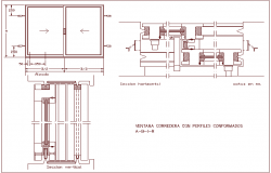 Sliding window design view, horizontal & vertical sectional view dwg file