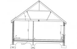 Sloping Roof Section Design With Truss AutoCAD File Free.