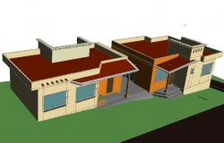 Small 3 D house detail dwg file