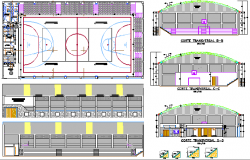 Small Covered Multi-Play Sports Center Architecture Project dwg file