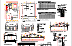 Small House Architecture Design, Elevation, Structure Details dwg file