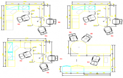 Small cabin layout plan in a office dwg file