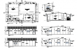 Small commercial office building elevation, plan and section 2d view dwg file
