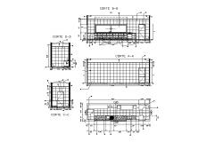 Small kitchen section and plan cad drawing details dwg file