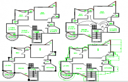 Small multi-flooring house floor plan details dwg file
