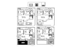 Small one family house main elevation and plan details dwg file