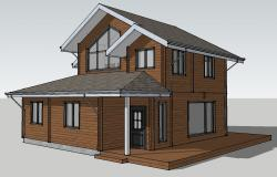 Small one family wood house 3d model cad drawing details skp file