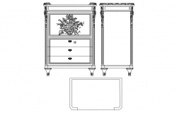 Small writing desk elevation,side view and furniture block view dwg file
