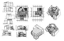Snack bar restaurant all sided elevation, section, plan and auto-cad details dwg file