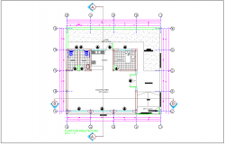 Social head office architectural plan dwg file