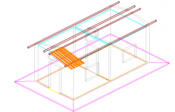 Social house 3 D plan detail dwg file