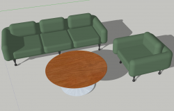 Sofa and table 3d view skp file