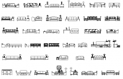 Sofas and armchairs Elevation dwg file