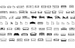 Sofas different types detail dwg file