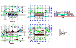 Sonesta Hotel floor plan and section with column view dwg file