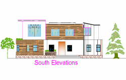 South elevation house detail dwg file
