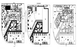 Spa center building floors floor plan cad drawing details dwg file