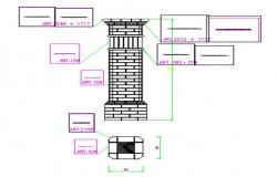 Specification detail working drawing of pillar.