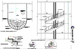 Spiral Stair plan, elevation and section detail dwg file