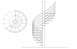 Spiral stair plan and section layout file