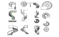 Spiral stairs plan detail dwg file.