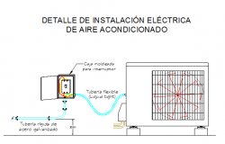 Split air condition installation details dwg file