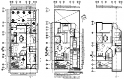 Split level house plan detail dwg file