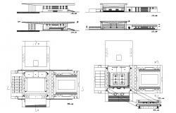 Sport Center Building Facade and Plan Design CAD File
