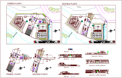 Sport center floor plan with detail view,elevation and section view dwg file