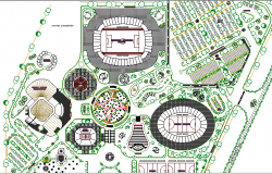 Sports Center Architecture Plan and Structure Details dwg file
