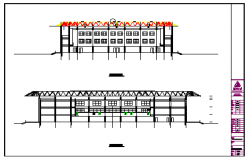 Sports Center tennis court section detail design drawing