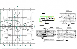 Sports Court Elevation and Section Plan dwg file