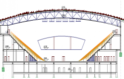 Sports Stadium Architecture Design and Structure Details dwg file
