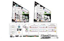 Sports center all sided elevation, section, floor plan and auto-cad details dwg file