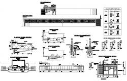 Sports center building elevation, section and construction details dwg file