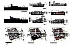 Sports center building elevation, section and floor plan details dwg file