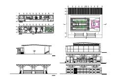 Sports center elevation, section, floor plan cad drawing details dwg file