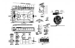 Sports center elevation, section, plan and landscaping structure details dwg file