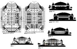 Sports center elevation, section and plan details dwg file
