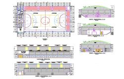Sports center elevation, transverse section and plan details dwg file