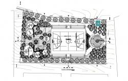 Sports center general plan cad drawing details dwg file