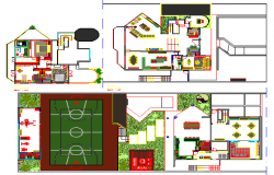 Sports center landscaping and structure details dwg file