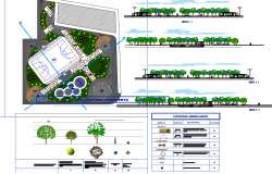 Sports club centre plan and elevation view detail dwg file