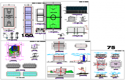 Sports club centre site plan detail view dwg file