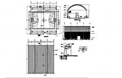 Sports court section, cover plan and sports ground details dwg file