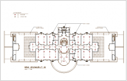 Sprinkler single water line view for floor of corporate building dwg file