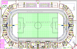 Stadium Architecture Layout and Structure Details dwg file