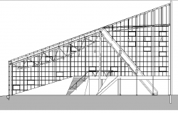 Stadium Elevation And Section Plan dwg file