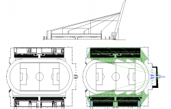 Stadium plan elevation and layout