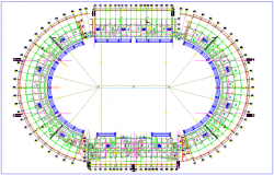 Stadium plan with architectural view dwg file